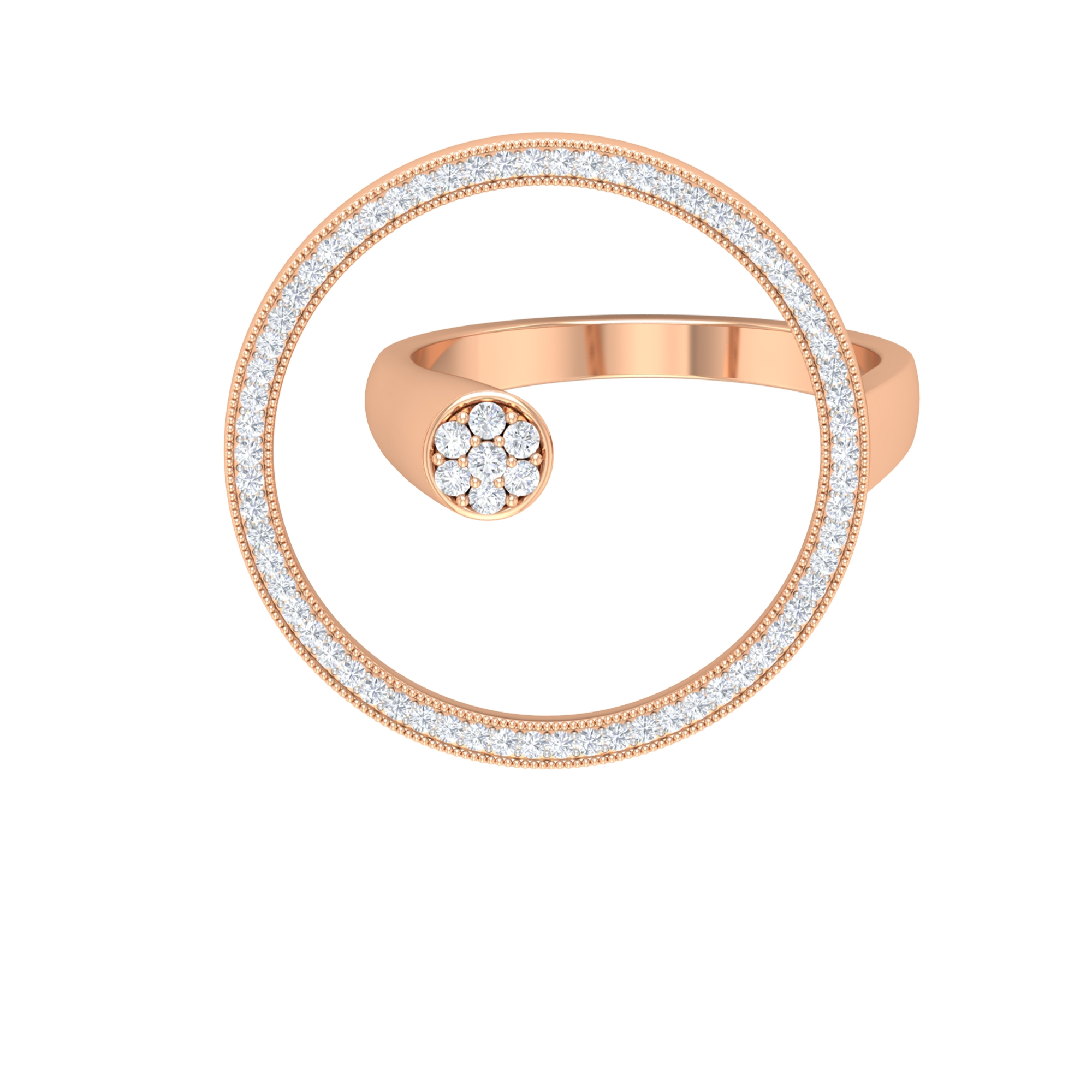 1/2 CT Prong Set Diamond Floral Wrap Ring with Eternity