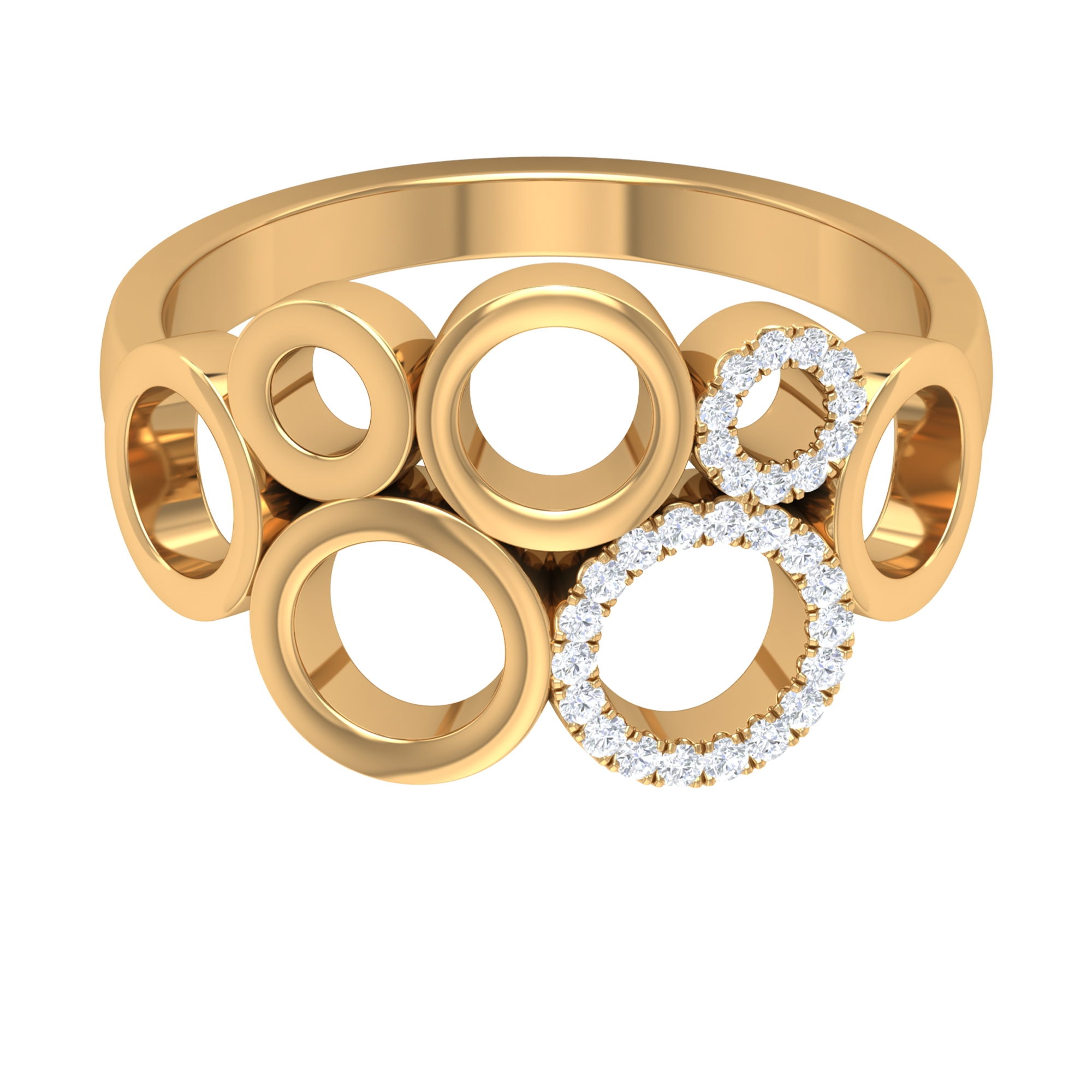 Prong Set Diamond and Gold Bubble Ring for Women