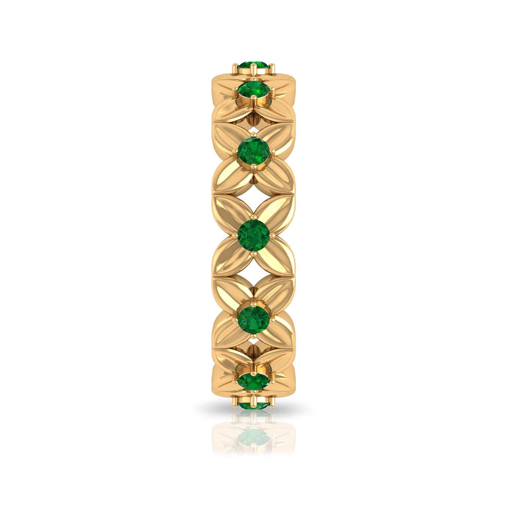 1/2 CT Emerald Gold Engraved Floral Anniversary Band