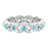 1/2 CT Swiss Blue Topaz Floral Gold Band Ring
