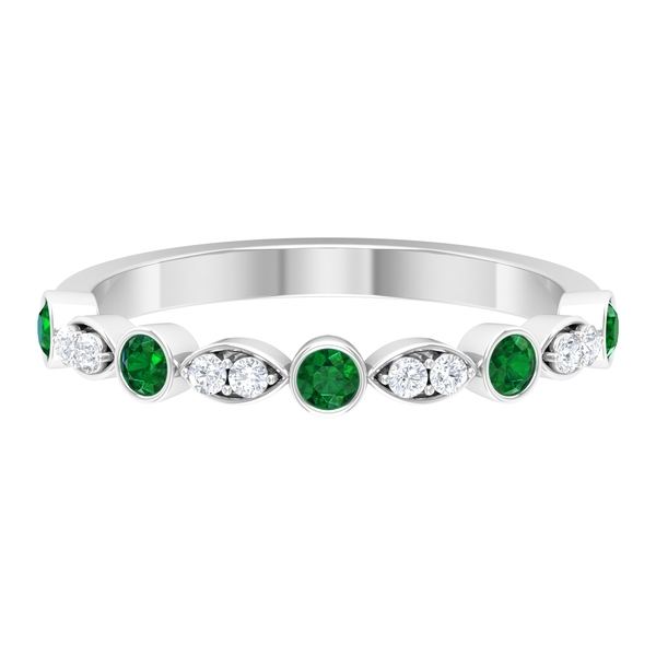 1/4 CT Minimal Created Emerald and Diamond Stackable Ring