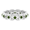 1/2 CT Green Tourmaline and Diamond Floral Gold Band Ring