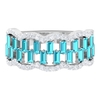 1.50 CT Baguette Cut Swiss Blue Topaz and Diamond Accent Wedding Ring