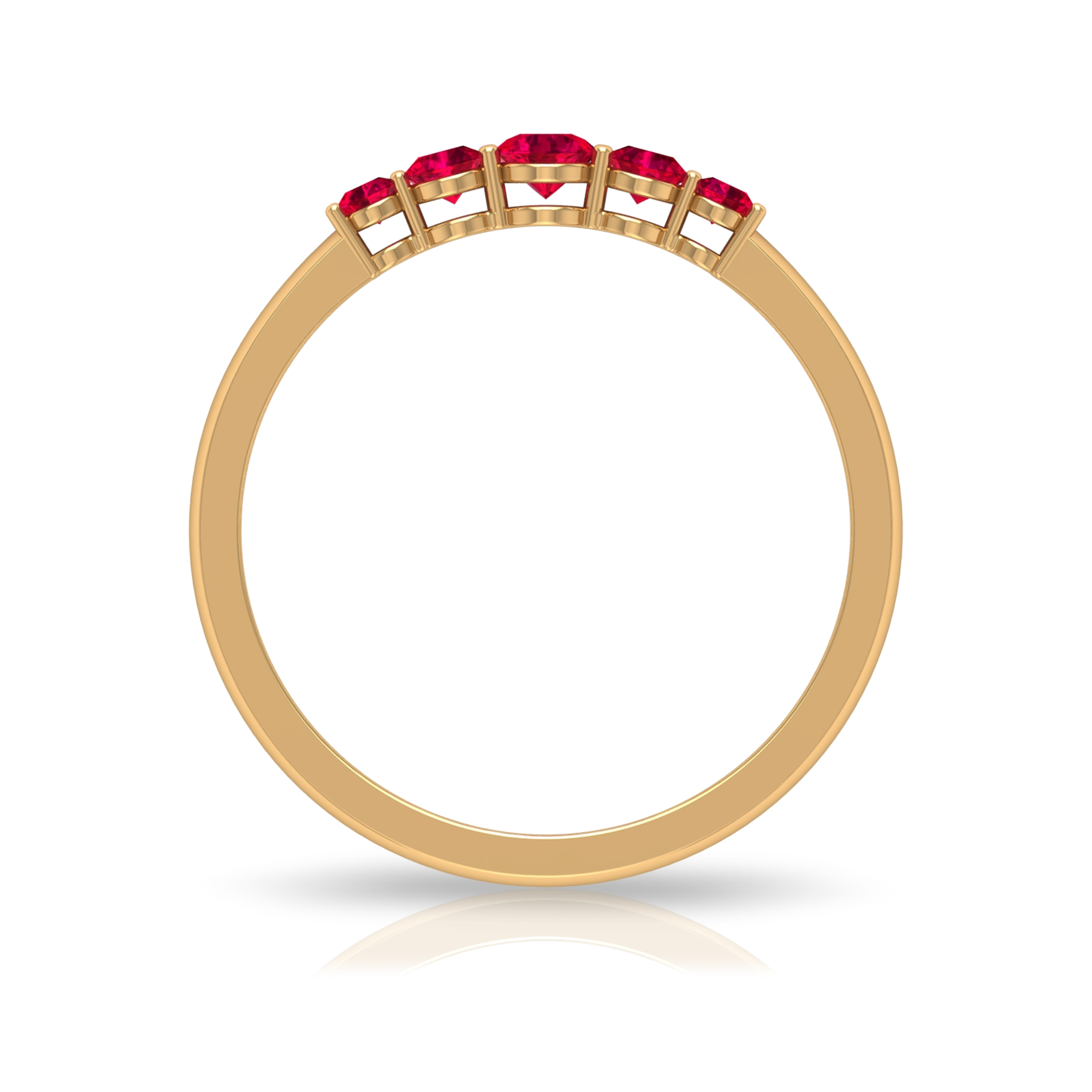 1/4 CT Ruby Five Stone Promise Ring