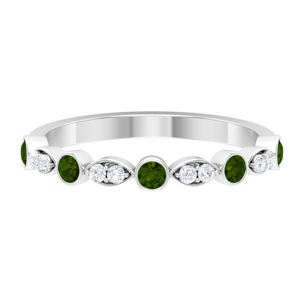 1/4 CT Minimal Green Tourmaline and Diamond Stackable Ring