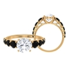 3.25 CT Solitaire Moissanite Engagement Ring with Black Spinel Side Stones
