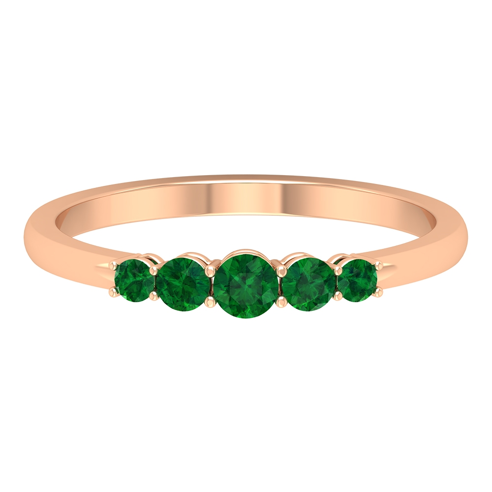 1/4 CT Shared Prong Set Emerald 5 Stone Promise Ring
