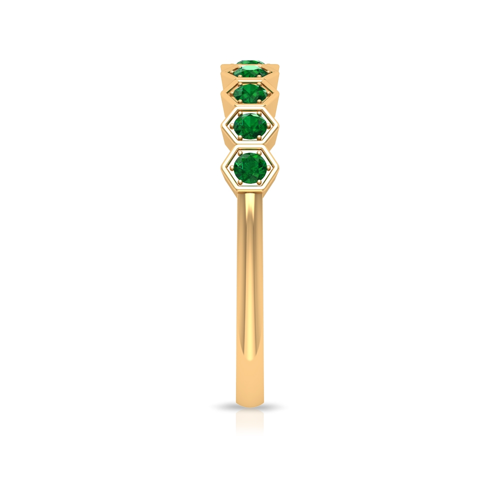 1/2 CT Emerald Geometric Stackable Ring for Women