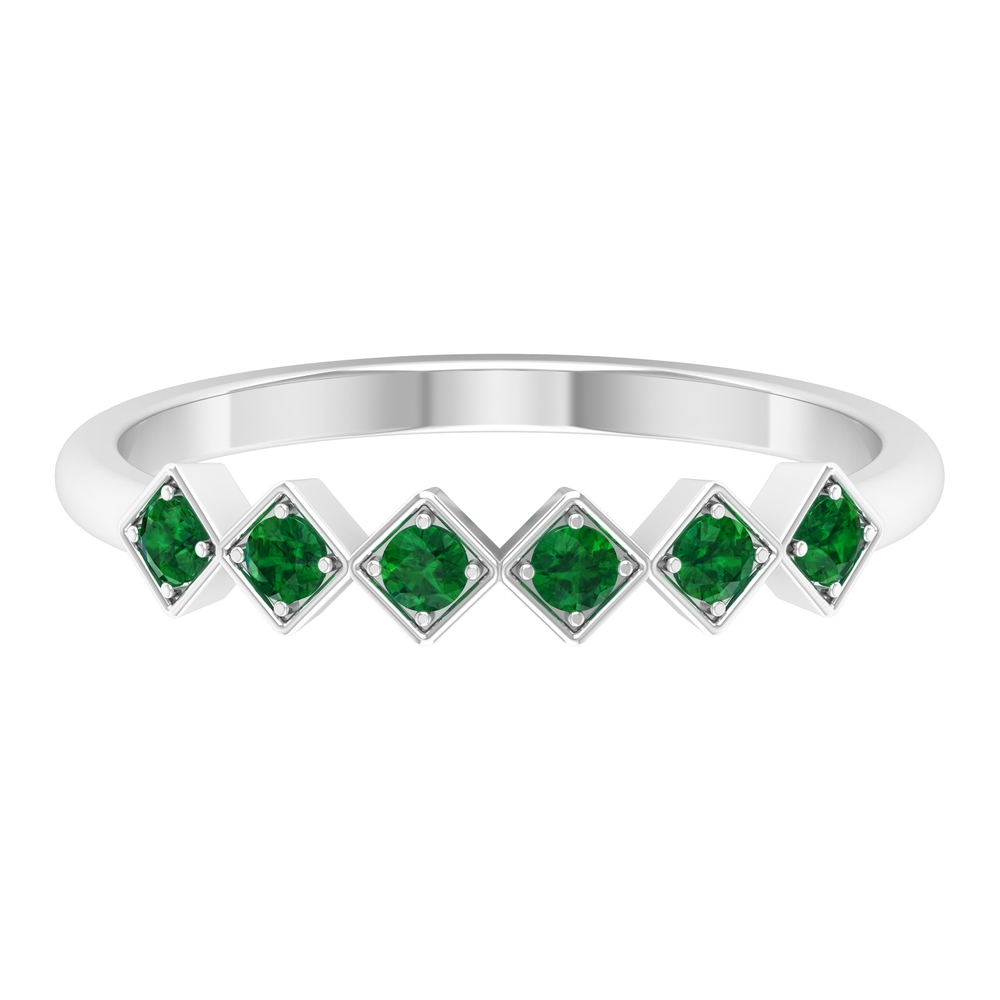 1/4 CT Emerald Geometric Stackable Ring for Women