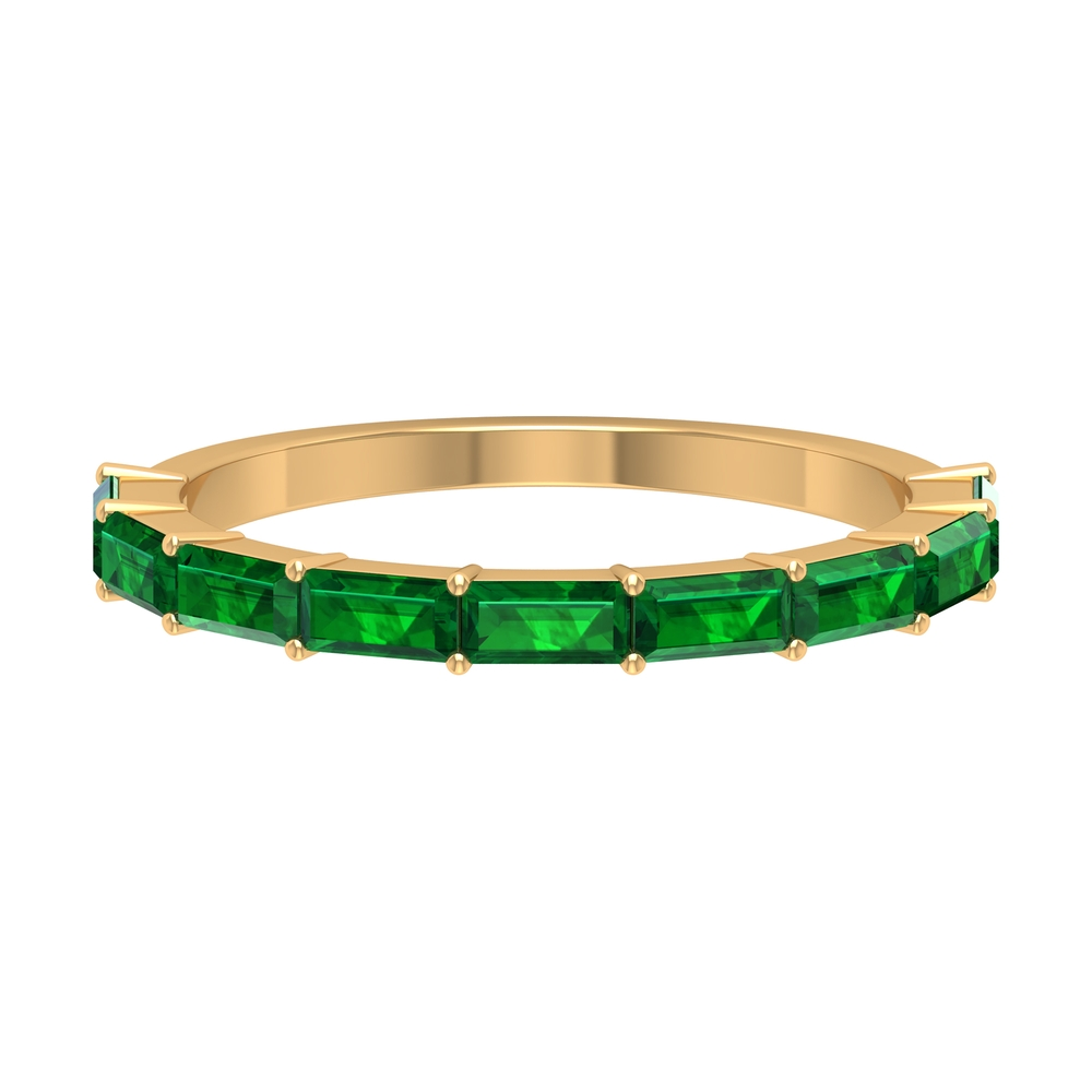 1.25 CT Baguette Emerald East West Half Eternity Band Ring