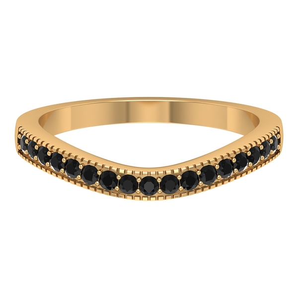 0.25 CT Black Onyx Curved Ring