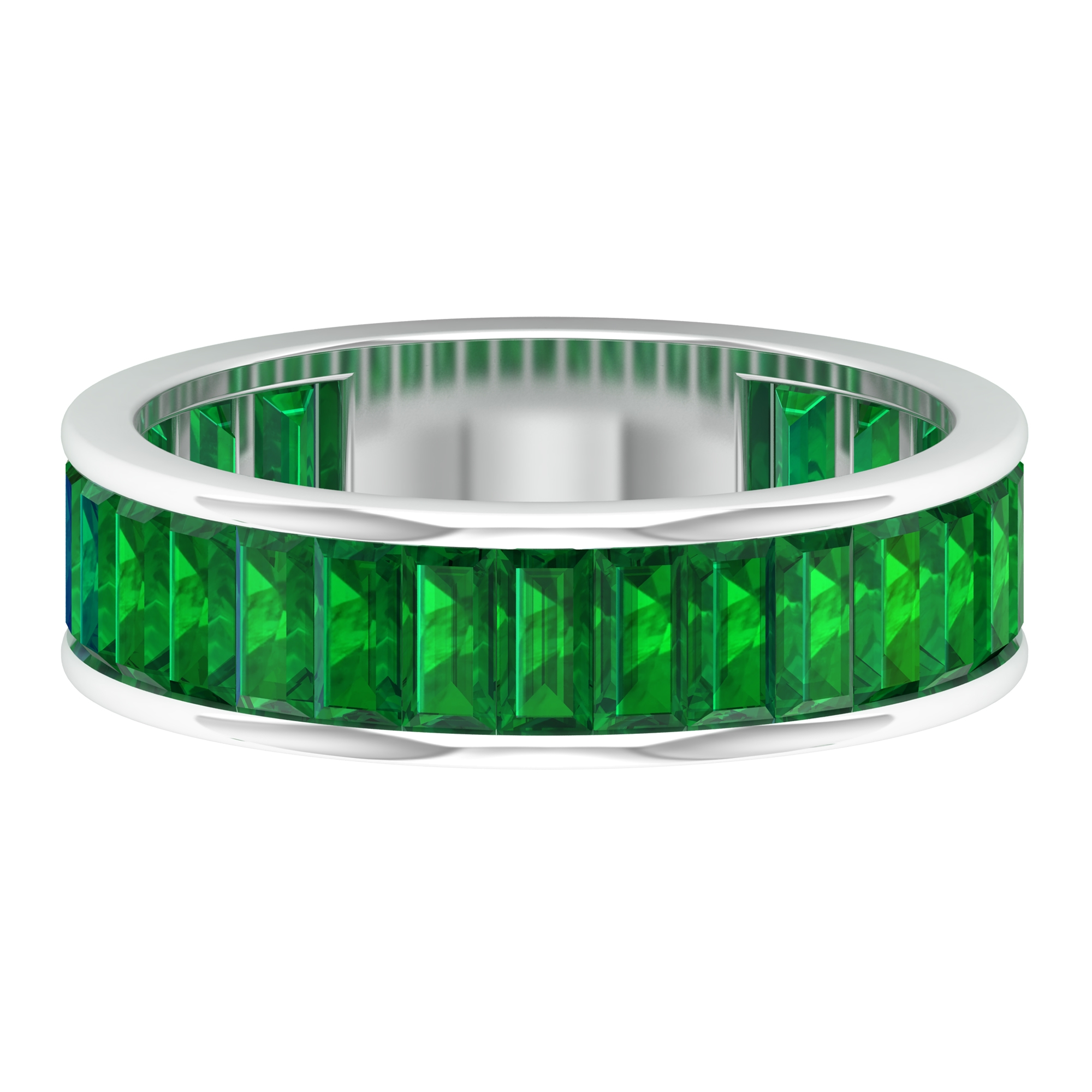 May Birthstone 3.25 CT Baguette Cut Emerald Band Ring in Channel Setting