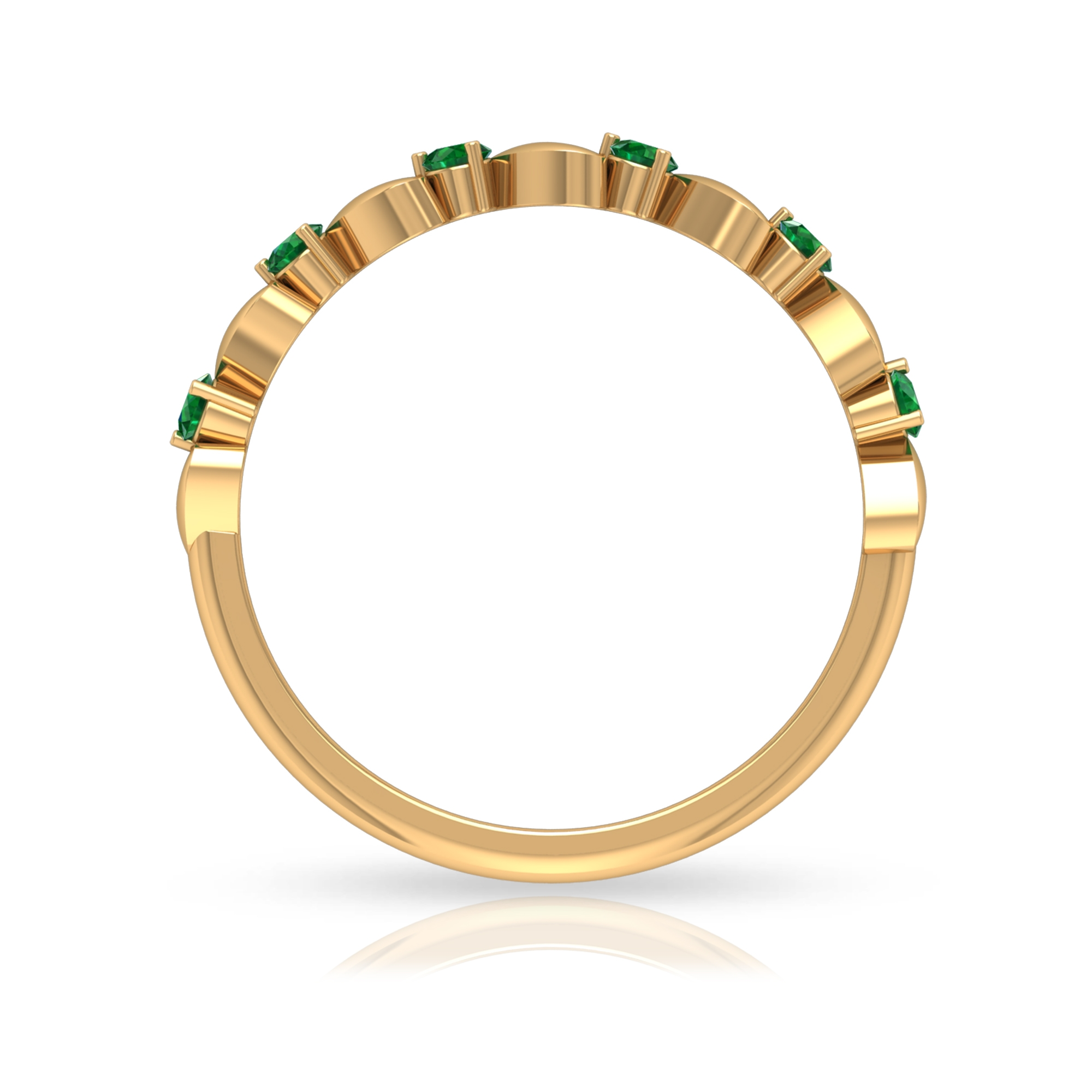 1/4 CT Gold Heart Stackable Ring with Emeralds