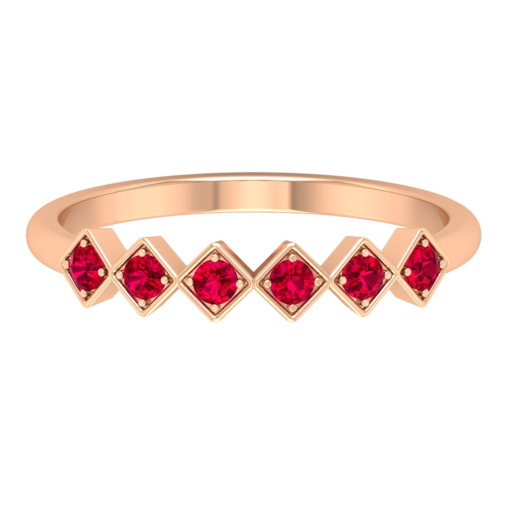 1/4 CT Minimal Ruby Stackable Band Ring