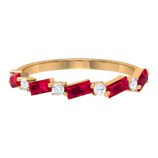 1.25 CT Created Ruby and Diamond Half Eternity Band Ring