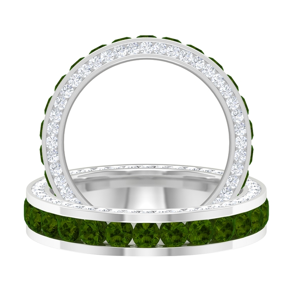 3.25 CT Channel Set Green Tourmaline and Moissanite Accent Eternity Band Ring