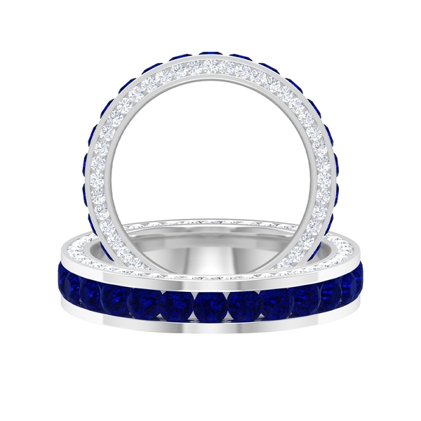 3.50 CT Channel Set Created Blue Sapphire and Moissanite Accent Eternity Band Ring