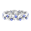 1/2 CT Tanzanite and Gold Leaf Eternity Ring