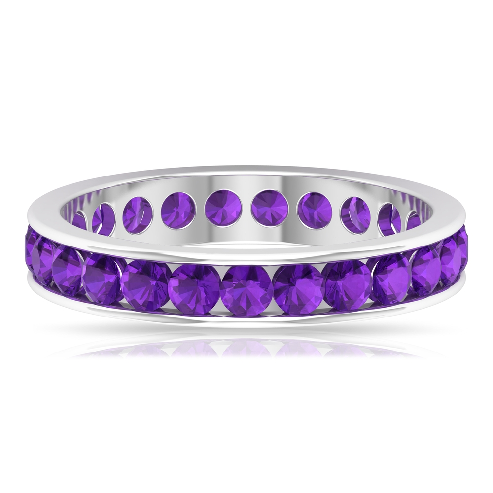 1.75 CT Round Shape Amethyst Full Eternity Band Ring in Channel Setting