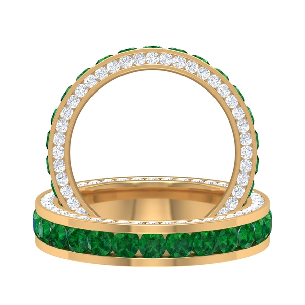 2.50 CT Channel Set Created Emerald and Moissanite Accent Eternity Band Ring