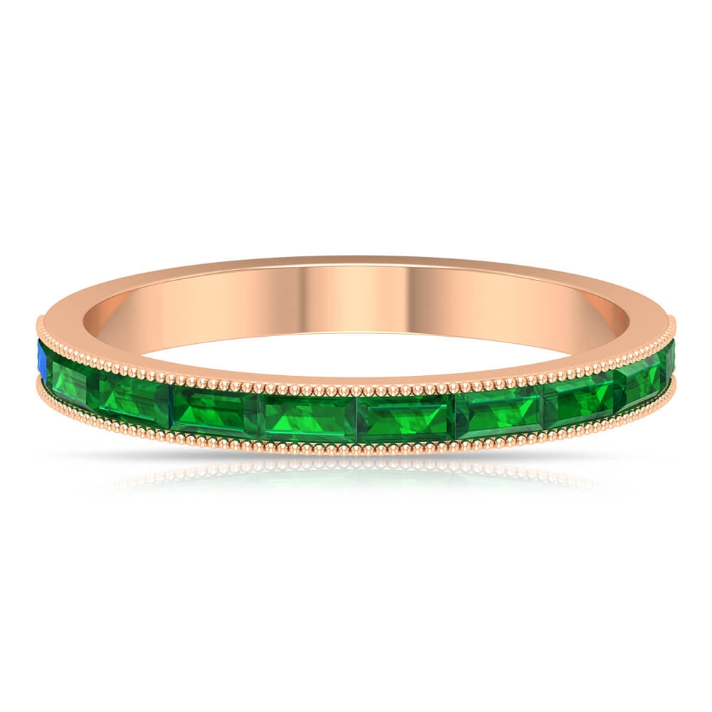 May Birthstone 0.75 CT Channel Set Baguette Cut Emerald Band Ring for Women with Gold Milgrain Detailing