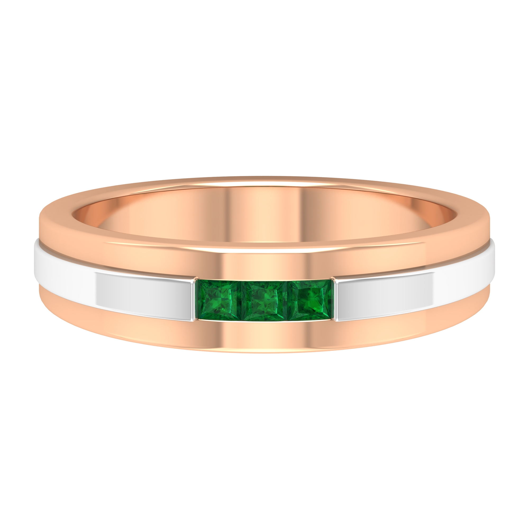 Two Tone Gold Unisex Band Ring with Channel Set Princess Cut Emeralds