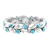 1/2 CT Swiss Blue Topaz and Gold Leaf Eternity Ring