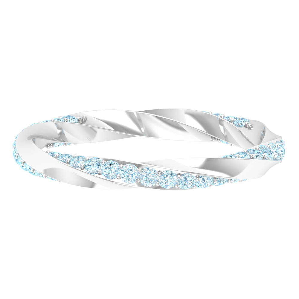 1/2 CT Aquamarine Stackable Gold Twisted Rope Ring