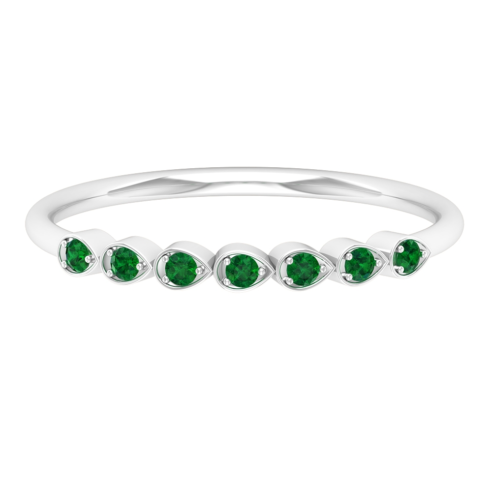May Birthstone Emerald 7 Stone Promise Ring