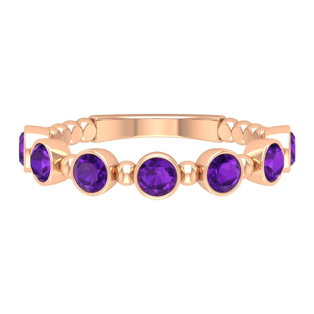 3/4 CT Amethyst Stackable Ring with Beaded Details