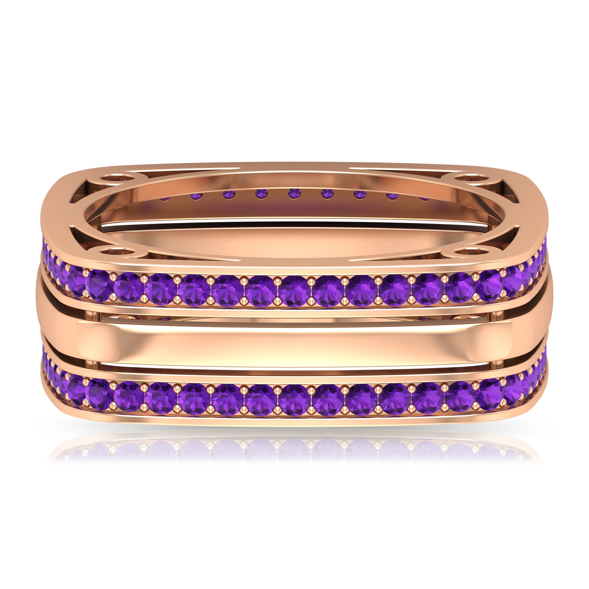 1 CT Amethyst Eternity Square Unisex Band For Women