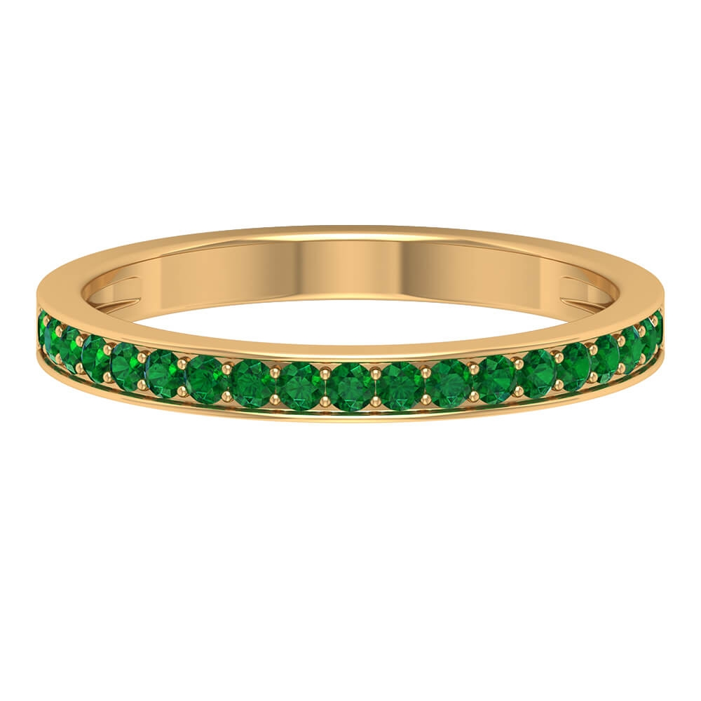1/4 CT May Birthstone Emerald Half Eternity Unisex Stackable Band