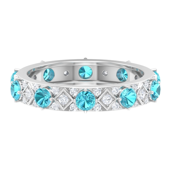 1.75 CT Swiss Blue Topaz and Diamond Accent Gold Band Ring