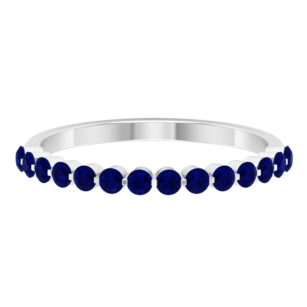 3/4 CT Blue Sapphire Floating Half Eternity Band Ring For Women