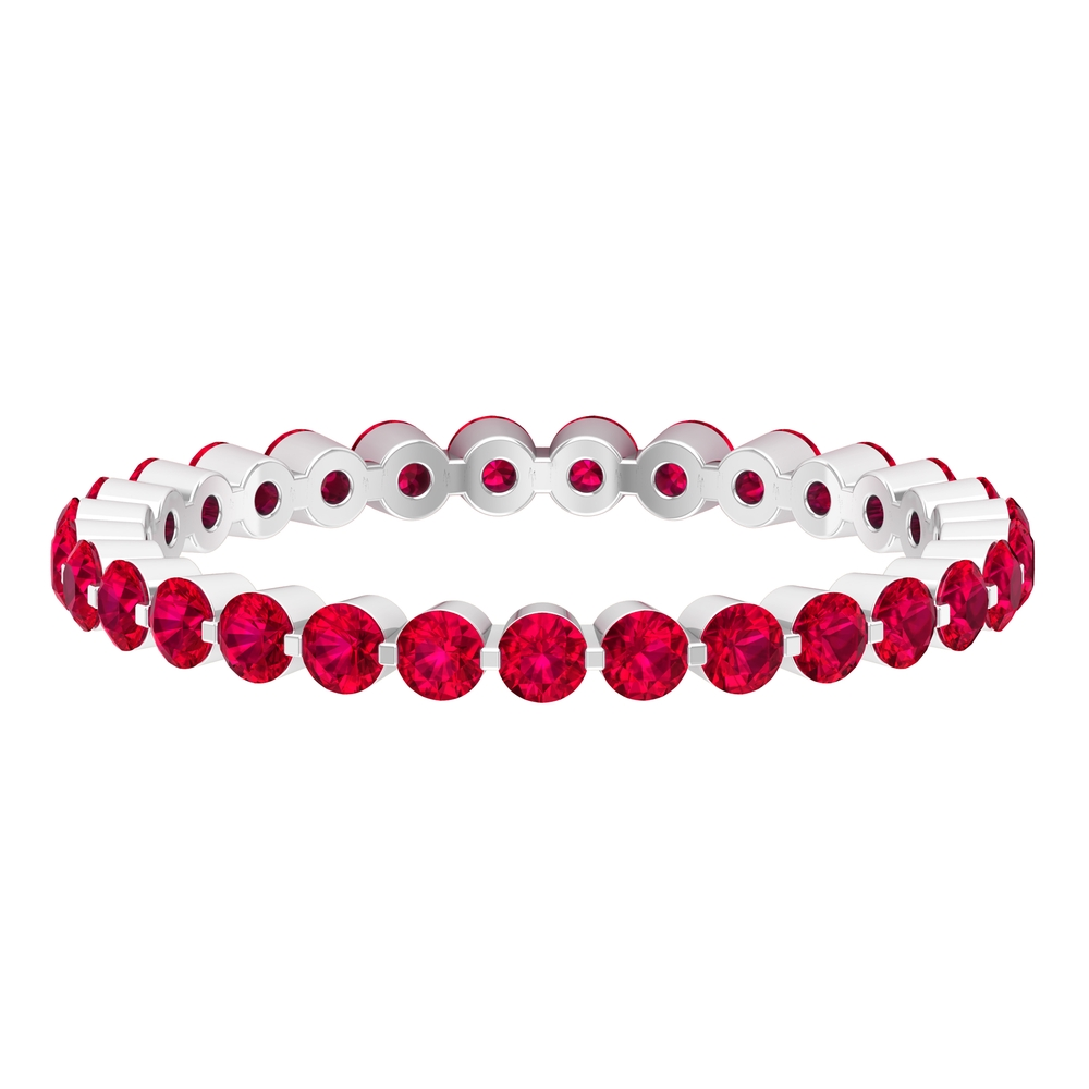 1.50 CT Ruby Floating Eternity Band For Women