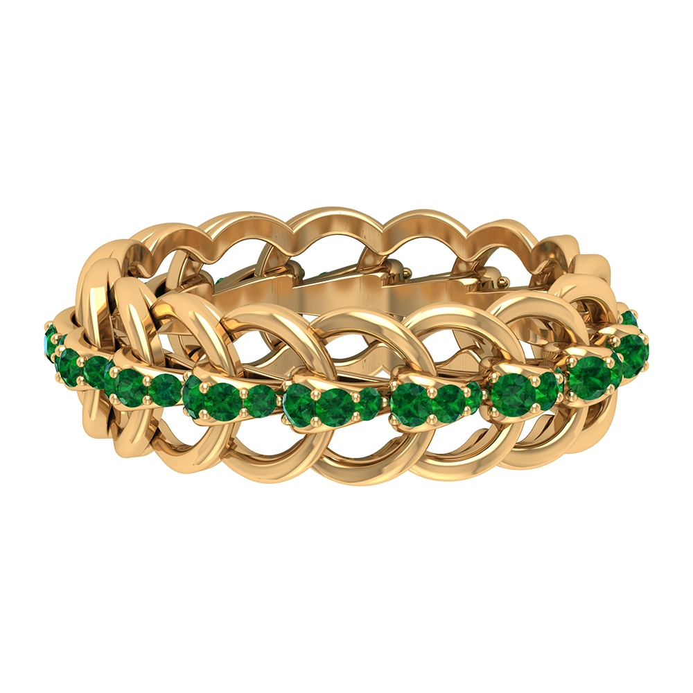 3/4 CT Emerald Eternity Wedding Ring with Chain Style Band