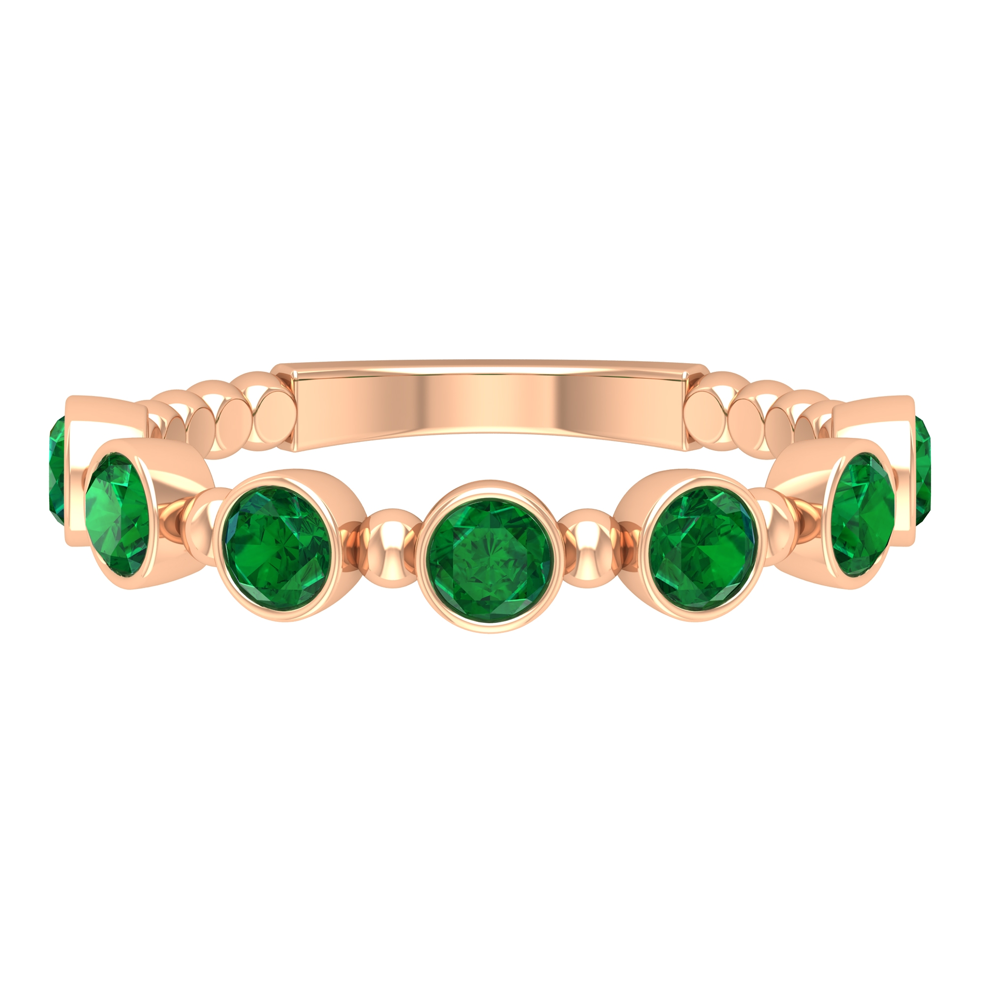 3/4 CT Bezel Set Round Emerald Stackable Promise Ring with Gold Beads