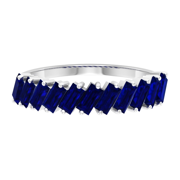 September Birthstone - 2 CT Baguette Cut Blue Sapphire Half Eternity Ring (AAA Quality)