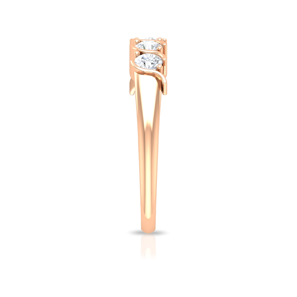 1/2 CT Diamond Five Stone Band Ring in Prong Setting