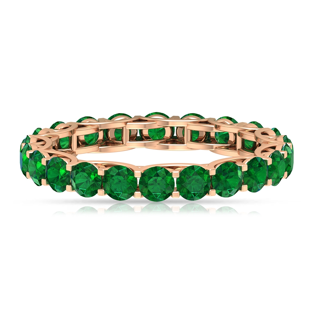 May Birthstone 2.75 CT Trellis Set Emerald Eternity Band Ring for Women (AAA Quality)