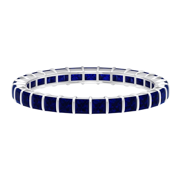 September Birthstone - 2.25 CT Princess Cut Blue Sapphire Eternity Ring in Bar Setting (AAA Quality)