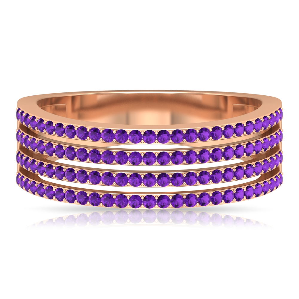 1/2 CT Pave Set Amethyst Four Row Band Ring