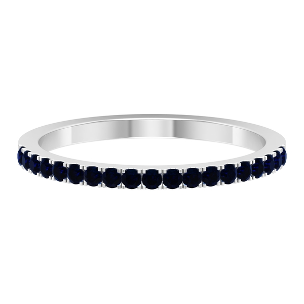 1/4 CT Blue Sapphire Half Eternity Stackable Band Ring