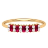 0.50 CT Baguette Cut Created Ruby and Diamond Minimal Ring
