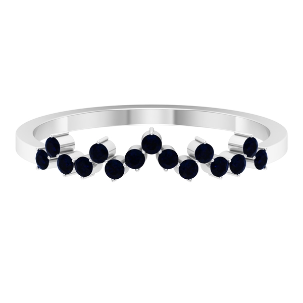 1/4 CT Round Cut Blue Sapphire September Birthstone Stackable Ring (AAA Quality)