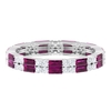 2 CT Rhodolite and Diamond Two Row Eternity Band Ring