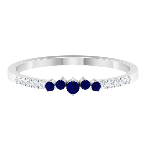 0.25 CT Created Blue Sapphire and Diamond Stackable Ring