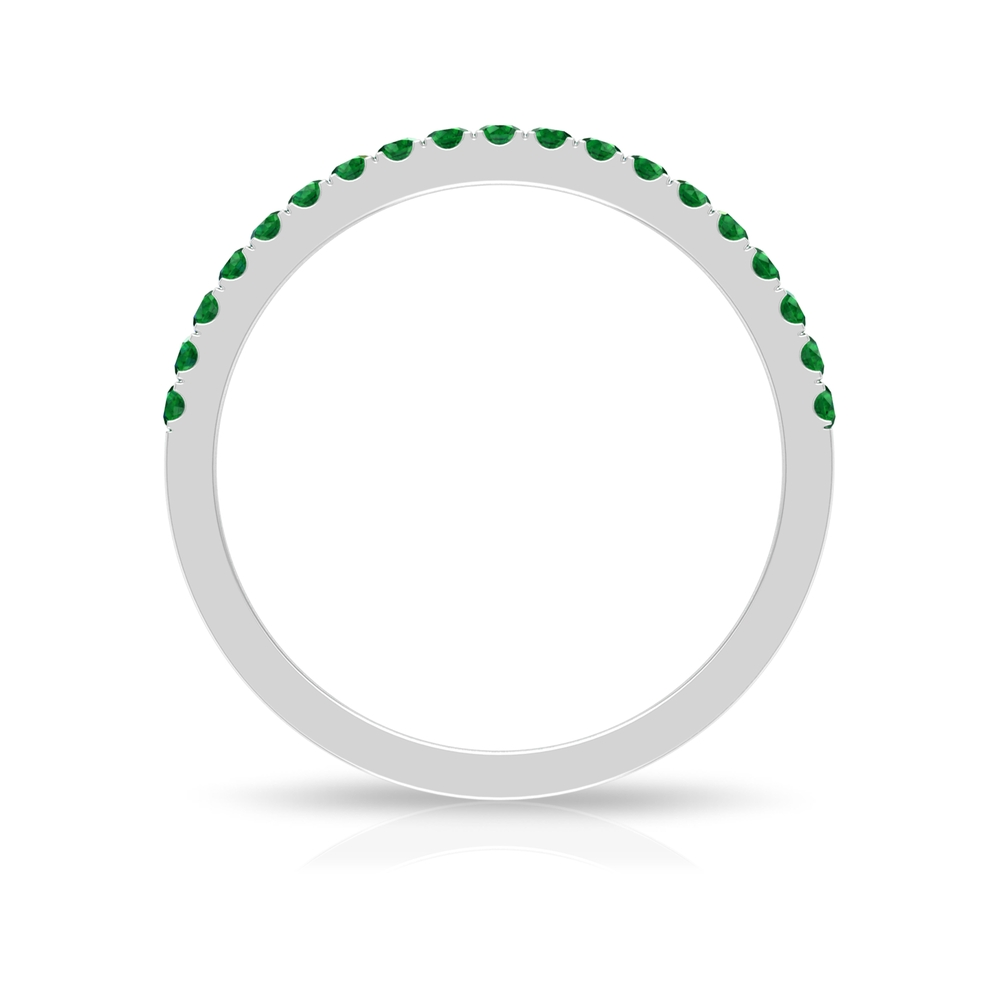 1/4 CT Emerald Half Eternity Stackable Band Ring