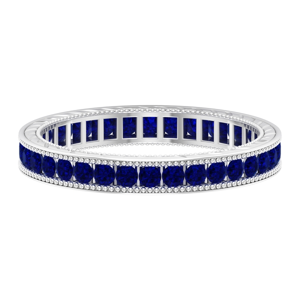 1 CT Blue Sapphire Eternity Ring with Milgrain Details