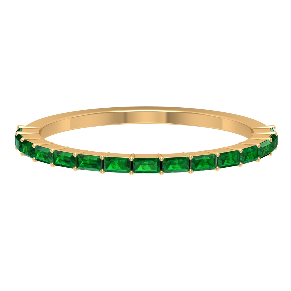 1/2 CT Baguette Shape May Birthstone Emerald Stackable Band Ring